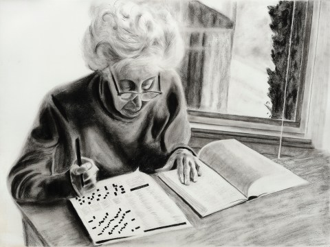 Charcoal drawing of Irmi doing her daily crossword puzzle by Cappy Coates.