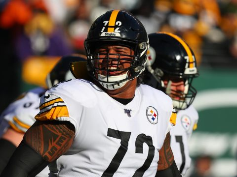 Pittsburgh Steelers offensive tackle Zach Banner seen prior to a game between the Steelers and the New York Jets at MetLife Stadium in East Rutherford, N.J., Dec. 22, 2020. (Rich Graessle/Icon Sportswire via Getty Images)