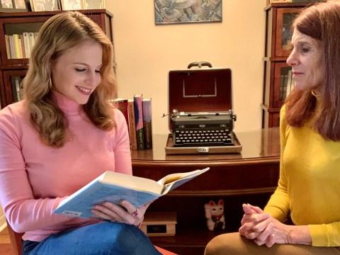 Emma Goss reads aloud to her mother, Valerie.