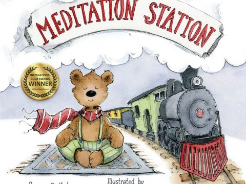 "The cover of ""Meditation Station"" by Susan Katz and illustrated by Anait Semirdzhyan shows a teddy bear sitting in lotus position as a train goes by"