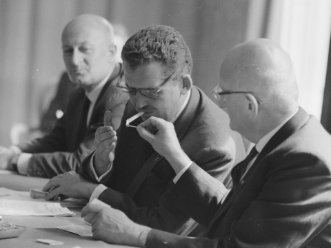 Baron Edmond de Rothschild (center) in 1961. (Photo/Wikimedia)