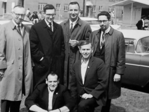 Rabbi H. David Teitelbaum (bottom right) in Selma, Alabama, in 1965 with (standing, from left) Rabbi Joseph Gumbiner, Rabbi Joseph Weinberg, activist Irving Katuna, Rabbi Saul Berman and (front left) Rabbi Gerald Raiskin.