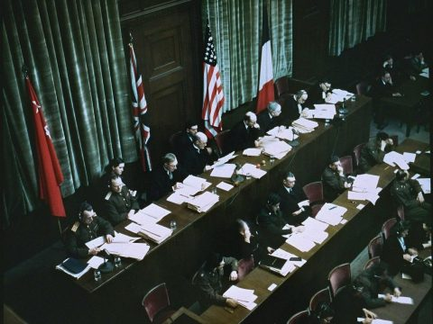 The judges' bench at the International Military Tribunal in Nuremberg. (Photo/United States Holocaust Memorial Museum-Courtesy of National Archives and Records Administration, College Park)