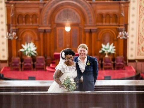 Christina Jefferson and Julie Driscoll were married at Congregation Sherith Israel in San Francisco on Oct. 15, 2015. (Photo/Chloe Jackman)