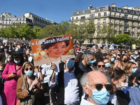 About 20,000 people showed up for a rally in the French capital objecting to a court ruling about the killing of Sarah Halimi. (Photo/JTA-Cnaan Liphshiz)
