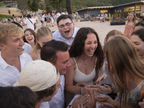 URJ Camp Newman staff dance together on Shabbat before the return of campers, June 2021.