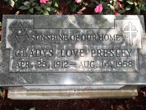 Gladys Presley's grave marker, now on display at Graceland. It was designed by her famous son to honor the family's Jewish heritage. (Photo/JTA-Dan Fellner)