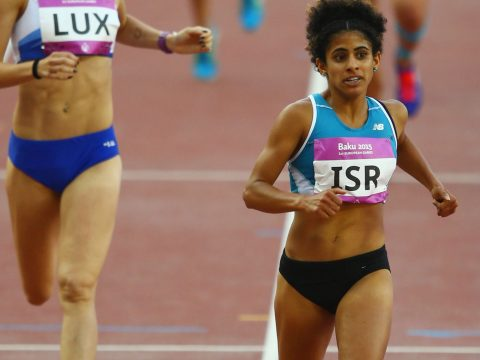 Maor Tiyouri finishes second in the women's 1,500 meters at the Baku European Games in Azerbaijan, June 22, 2015. (Photo/JTA-Richard Heathcote-Getty Images for BEGOC)