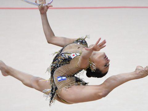 Israeli gymnast Linoy Ashram competes at the European Rhythmic Gymnastics Championships in Kyiv, Ukraine, Nov. 29, 2020. (Photo/JTA-Sergei Supinsky-AFP via Getty Images)