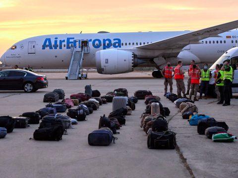 Afghan refugees' luggage sits at the Torrejon de Ardoz air base in Madrid, Spain, Aug. 24, 2021. (Photo/JTA-Jesus Hellin-Europa Press via Getty Images)