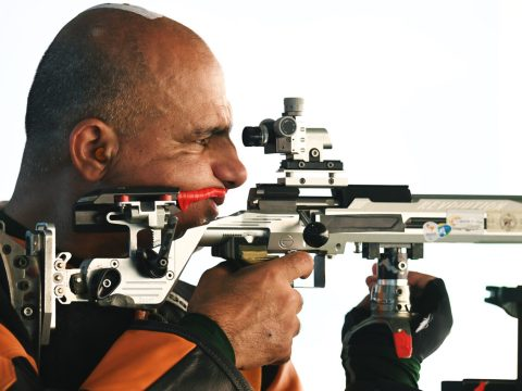 Doron Shaziri of Israel competes in the men's 50m rifle 3 positions SH1 at the Rio 2016 Paralympic Games. (Photo/JTA-Atsushi Tomura-Getty Images)