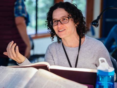 Rabbi Sara Zober, who leads Temple Sinai in Reno, Nevada, is a regular at the all-rabbi Dungeons & Dragons Zoom games. She plays a dwarven barbarian named Cadha Stoneshield. (Photo/JTA-Courtesy Zober)