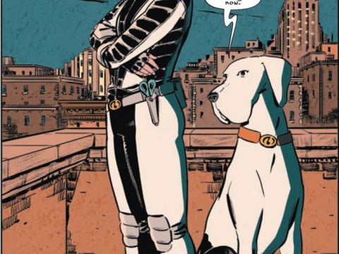 Willow Zimmerman as Whistle with Lebowitz as Hound. Move over, Krypto. (Art by Manuel Preitano, colors by Gabby Metzler and letters by ALW's Troy Peteri)