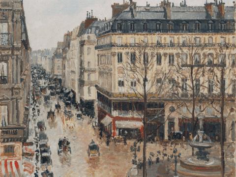 """Camille Pissarro, """"Rue St.-Honore, Apres-Midi, Effet de Pluie""""."""