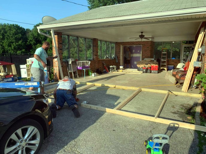 Building the frame for the new exterior wall to close off the garage addition remodeling in Hanover PA