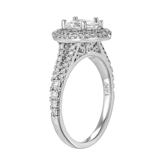 Split diamond shank halo engagement ring