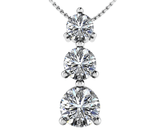 custom Three prong three stone pendant in 14 karat white gold