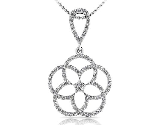 custom Vintage teardrop diamond and gemstone pendant