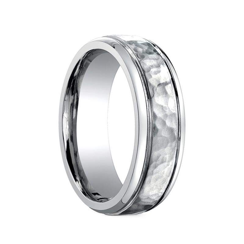 benchmark ring hammered finish titanium wedding band