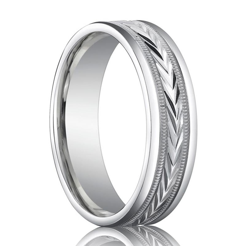 benchmark wedding band with arrow pattern ring