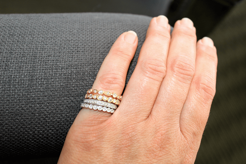 diamond stacking bands with rose, white and yellow gold