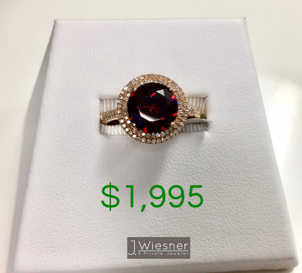 garnet and diamond engagement ring for sale san diego