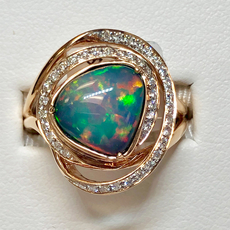 estate opal and diamond ring