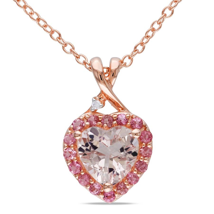 18k pink gold heart shaped morganite and diamond pendent