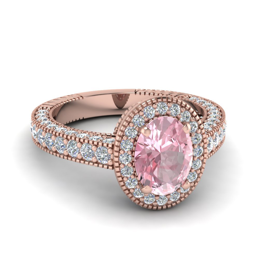 Antique Oval Shaped Morganite Diamond Colored Engagement ring in 14k rose gold
