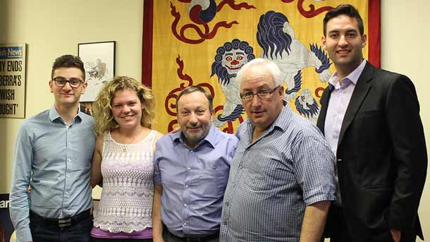 Dean Sherr, Jessica Conish, Professor John Rosenberg, Michael Danby and Josh Burns