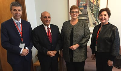 Dan Springer, Shaul Mofaz, Marise Payne and Helen Shardey