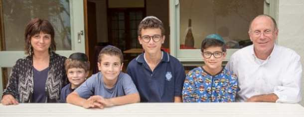 Judit, Avi, Sam, Nissim, Benjamin and Ted Levi in their new home in Bellevue Hill       Photo Henry Benjamin