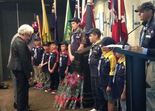 The 3rd Rose Bay Scouts  - honour guard at the wreath laying
