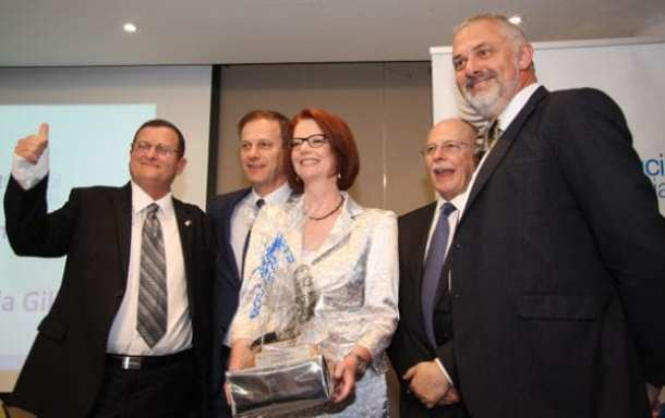 Ambassador-designate Shmuel Ben-Shmuel. Philip Chester, Julia Gillard, Mark Leibler and Sam Tatarka  Photo: STeve Yarrow