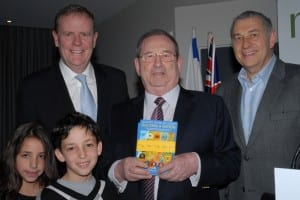 Melbourne Book Launch  l-r Peter Costello, contributor George Szalmuk [with grandchildren] and Danny Lamm