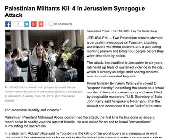 """Caption: An Associated Press story on the Nov. 18 synagogue attack in Jerusalem whose headline refers to Palestinian terrorists as """"militants."""" Credit: Military.com screenshot."""