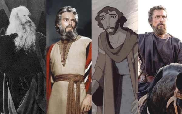 "From left to right, Theodore Roberts in ""The Ten Commandments"" (1923), Charlton Heston in ""The Ten Commandments"" (1956), Moses voiced by Val Kilmer in ""The Prince of Egypt"" (1998), and Christian Bale in ""Exodus: Gods and Kings"" (2014). Credits (left to right): Paramount, Paramount, DreamWorks, 20th Century Fox. Photo illustration by Marshall Weiss."