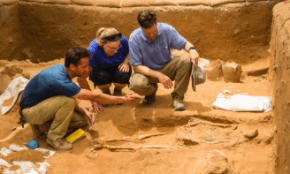 Senior Staff Adam Aja, Sherry Fox, and Daniel Master discuss a 10th-9th century BC burial in the excavation of the Philistine cemetery by the Leon Levy Expedition to Ashkelon ©Tsafrir Abayov/Leon Levy Expedition