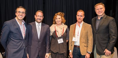 Festival Director Michael Misrachi, Rabbi Dov Lipman, moderator Debbie Whitmont, author and journalist Matti Friedman and Waverley Councillor Leon Goltsman