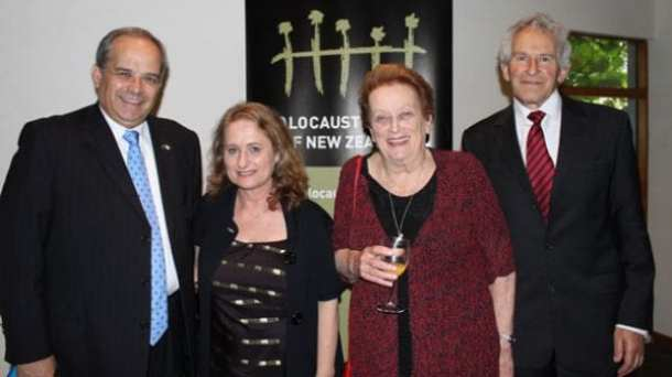 osef Livne, Ambassador for Israel, Carol Ratnam event co-ordinator and volunteer at the NZ Holocaust Centre, Inge Woolf, Founding Director of NZ Holocaust Centre, David Zwartz Chair of the Wellington Jewish Regional Council and MC for the event.
