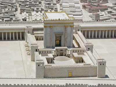 A model of King Herod I's renovated version of the Second Jewish Temple in Jerusalem. Credit: Ariely via Wikimedia Commons.