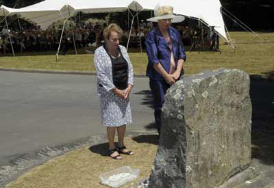 The Mayor of Wellington, Her Worship Celia Wade-Brown (right) and Holocaust Centre of NZ director Inge Woolf after laying stones at the Makara Holocaust Memorial on UN International Holocaust Remembrance Day.  Photo: Photography by Woolf