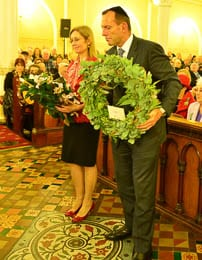 NSW Attorney-General Gabrielle Upton and Prime Minister Tony Abbott lay wreaths      Photo: Henry Benjamin/J-Wire