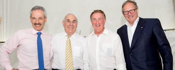 Treasurer Tom Mautner, retiring honorary secretary Max Kahn, vice-president Gary Imberg and president David Freeman.        Photo: Henry Benjamin