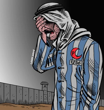 """The cartoon pictured here, titled """"IsraHell's concentration camp,"""" won the second-place prize in the Iranian government-sponsored Holocaust cartoon contest in 2006. Credit: Carlos Latuff via Wikimedia Commons."""