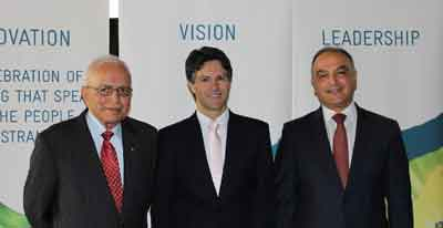 Dr Hari Harinath (new CRC Chair), Minister Dominello and Hakan Harman (CRC Chief Executive Officer)