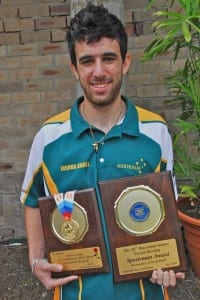Josh Small with his two awards