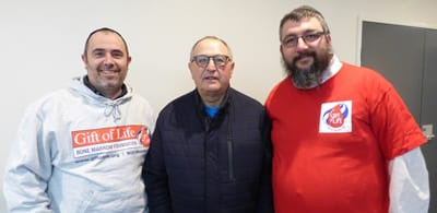 Craig Rosen, Bernhard Krupp and Mordi Joseph at Gift of Life's urgent blood testing