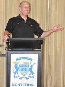 Ehud Olmert talks at Sydney's Montefiore Home  photo: Henry Benjamin