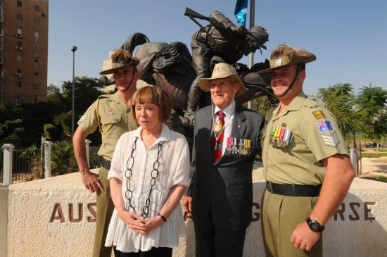 Jeanne Pratt, second left, and Major General Digger James, second right, with Australian troops, next to a monument in The Park of the Australian Soldier, in Be'er Sheva, Israel, November 1, 2009. Photo by Ahikam Seri